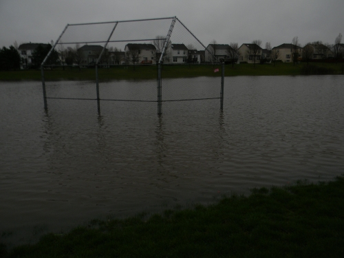 Water filled up the ball field